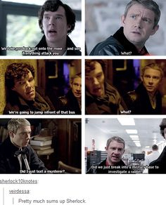 Pretty much sums up Sherlock and John's relationship. That and John insisting that they are not together :)
