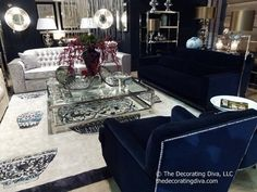 Blue and white living room decor at Tendence Design Show | The Decorating Diva, LLC
