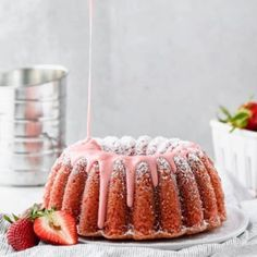 Fresh Strawberry Pound Cake Recipe with Strawberry Glaze poured over it Homemade Strawberry Cake, Fresh Strawberry Cake, Pound Cake With Strawberries, Strawberry Glaze, Strawberry Cake Recipes, Strawberry Puree, Cheesecake, Baking Utensils, Pound Cake Recipes