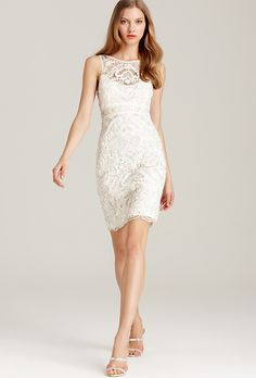 Brides: Affordable Wedding Dresses (Under $1,000!). Beaded short lace dress, style 610548, $448, Sue Wong, available at Bloomingdale's