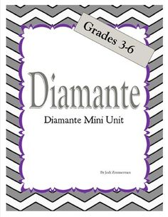 This diamante mini unit is a great resource for teaching the format for writing diamante poems as well as giving strategies for following the set format. It includes an anchor chart to support instruction and help students visualize and review the format.