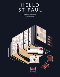 Posters for South Bank Hotel London | Illustrations by Tom Haugomat