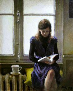Young woman reading.MarcChalmé(French, 1969-). Dünyanın en güzel sahnesi.