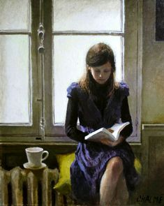 Young woman reading. Marc Chalmé (French, 1969-). Chalmé's paintings of a world we are familiar with — homes, quiet streets scenes, women, children and still lifes of everyday objects — have an unusual dreamlike quality. His works are intimate scenes of small moments — a woman setting the table, descending the stairs, or, in this case, reading a book.
