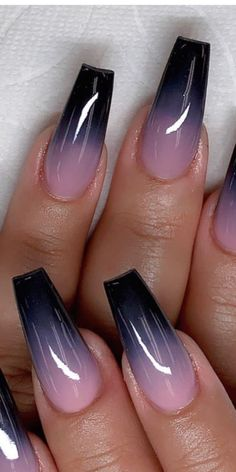 Acrylic Nails Coffin Short, Coffin Shape Nails, Fall Acrylic Nails, Pretty Nails, Gorgeous Nails, Pink Ombre Nails, Glow Nails, Ombre Nail Designs, Nagel Gel