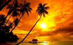 tropical island sunset in the Hawaiian Islands - large format for wallpaper