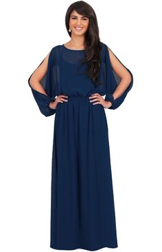 fe3b1b274de80 Koh Koh Women s Cut Out Chiffon Evening Cocktail Maxi Dress - Large - Navy  Blue