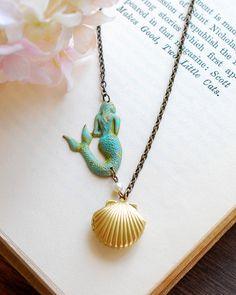 Mermaid Necklace, Sea Shell Locket Necklace, Gold Seashell Locket Verdigris Mermaid, Mermaid Melody, Mermaid Ariel, Mermaid Jewelry on Etsy, $26.00
