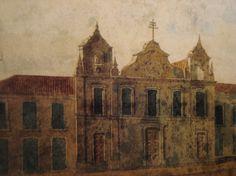 1823 - Igreja de São Pedro dos Clérigos. Pintura de Edmund Pink. Reprodução: Iconografia paulistana do Século XIX.