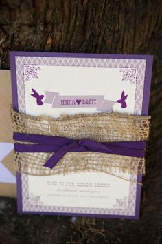 Wedding invitation with burlap...
