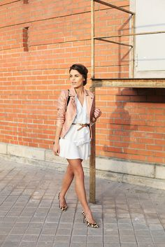 White dress + blush jacket.