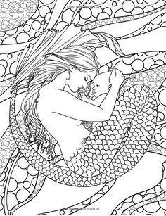 Free Coloring Page Adult Mermaid And Child Drawing By