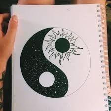 To draw easy, ying yang symbol, tattoo bedeutungen, yin yang art, yin and y Cute Easy Drawings, Cool Art Drawings, Pencil Art Drawings, Art Drawings Sketches, Doodle Drawings, Doodle Doodle, Random Drawings, Doodle Tattoo, Tattoo Sketches