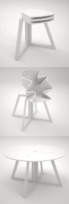 Mesa plegable Some foldable dining tables can be used as a small corner table when not being used in its full form. Table D'angle, Corner Table, Deco Table, Folding Furniture, Unique Furniture, Furniture Design, Origami Furniture, Japanese Furniture, Asian Furniture