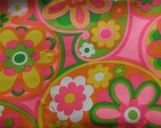"Super Mod Retro Vintage Flower Power Fabric Pink Orange Yellow Cotton 44"" x 92"" | eBay"
