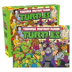 Teenage Mutant Ninja Turtles Cast 500 Piece Puzzle  You can puzzle over this Teenage Mutant Ninja Turtles Cast 500 Piece Puzzle, or you can order it and have a blast putting it together. Just look at all the Turtles characters in there! Measures 19-inches wide x 14-inches tall. Ages 14 and up.   via @AnotherUniverse.com  https://anotheruniverse.com/teenage-mutant-ninja-turtles-cast-500-piece-puzzle