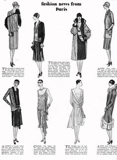 Fashion news from Paris, 1927. #vintage #1920s #fashion #dresses #illustrations