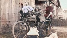 vintage foto afdrukken Flying Merkel motorfiets w kinderen en hond 1915