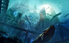 Artwork concept art city underwater sea fantasy art digital art futuristic wallpaper and background Landscape Wallpaper, Landscape Drawings, Art Drawings, Cyberpunk City, Futuristic City, Arcology, Cave City, Atlantis The Lost Empire, Underwater Caves