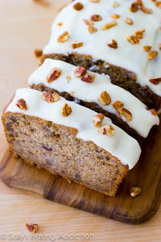 Banana Bread with Cream Cheese Frosting.