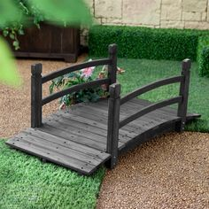 4-Ft Outdoor Garden Bridge with Hand-Rails in Weather Resistant Dark Wood Stain