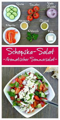 Dieser schnelle Schopska-Salat mit Tomate, Gurke, Paprika und Feta steckt voller… This quick Schopska salad with tomato, cucumber, bell pepper and feta is full of great flavors – perfect with bread or grilled meat. Healthy Recipes, Quick Recipes, Quick Meals, Soup Recipes, Salad Recipes, Vegetarian Recipes, Cucumber Recipes, Vegetable Soup Healthy, Healthy Vegetables