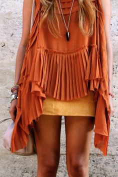 Tangerine pleated high low top