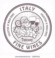 Grunge rubber stamp with words Italy, Fine Wines, vector illustration - stock vector