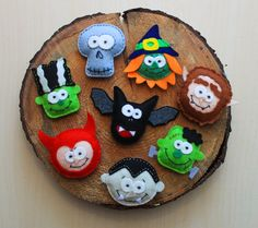 Silly heads felt magnets set  halloween by MiracleInspiration
