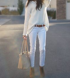 cream on white...the oversize works perfect w/the 1969 White Skinny Jeans by Gap...add casual bag, semi tucked, brown belt & voila.. chic