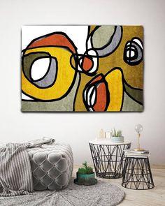 Vibrant coloré abstrait-0-29. Art Print, toile jaune du rouge moderne du milieu du siècle, milieu du siècle moderne toile Art Print jusquà 72 par Irena Orlov Wall Art déco pour la maison, bureau ou hôtel SURF ART ABSTRAIT Avec des couleurs rétros et des formes géométriques formés