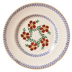 Old Rose on a side plate. Old Rose has been in our range for over 25 years - it is a classic design and our most iconic. Cuisines Diy, Pottery Painting Designs, Christmas Dinnerware, Old Rose, Beach Cottage Style, Pottery Plates, Side Plates, Handmade Pottery, Decoration