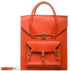 Tomas Brilliance - Orange Pelham Bag ($365) ❤ liked on Polyvore featuring bags, handbags, tote bags, structured leather tote, leather tote handbags, leather purses, red leather tote and leather tote bags