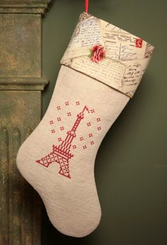 Eiffel Tower Cross Stitch Embroidery Christmas Stocking