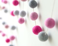 Pink Felt Ball Garland. Nursery Decor.