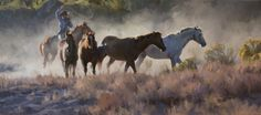 """""""The Last Holdouts"""" painting of cowboy lassoing horses by Tom Browning"""
