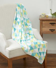 Love this 47'' x 47'' Yellow & Blue Geometric Swaddling Blanket by Raising Royale on #zulily! #zulilyfinds