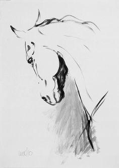 Original mixed media movement equine horse by heatherirvinefineart