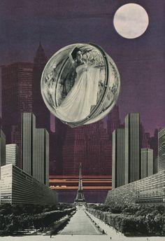 ' Somewhere between Paris & New York ' Tribute to Melvin Sokolsky Collage on paper © Sammy Slabbinck 2013 portfolio /  society6.com / flickr / shop/ facebook