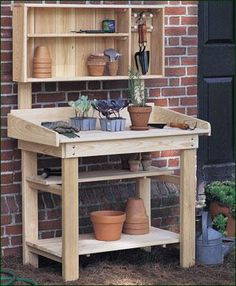 Suburban Gardener's Table Work station for re-potting, transplanting, etc. Fits perfectly where space is a premium. Top (sold separately) includes shelves and five movable Shaker pegs. Outdoor Potting Bench, Pallet Potting Bench, Potting Tables, Walpole Outdoors, Potting Station, Outdoor Sinks, Wooden Playset, Garden Table, Garden Benches
