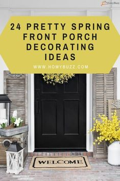 24 Pretty Spring Front Porch Decorating Ideas - HomyBuzz Decor, Warm And Cozy, Propane Fireplace, Home Decor Decals, Fronts, Cozy Seats, Front Porch Decorating, Spring Wreath, New Color
