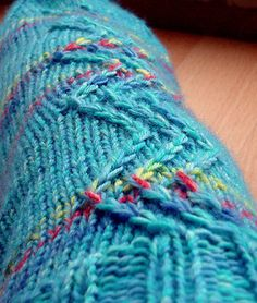This sock pattern is written for DK sockyarn or usual 4ply yarn taken double. The construction is for two circs (or magic loop), cuff down, heel with flap and gusset. The pattern is bilingual in german and english.