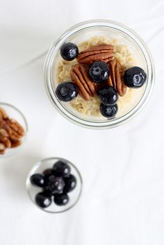 blueberry oatmeal with pecans.