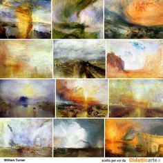 Different example of Turners work. Monet, Joseph Mallord William Turner, Watercolor Projects, Famous Artists, Art Techniques, Abstract Landscape, Figurative Art, Painting Inspiration, New Art