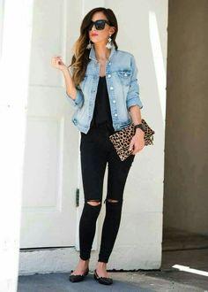 All blk w jean jacket