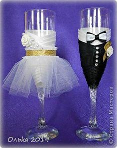 Декор предметов Свадьба Свадебные бокалы Бусины Ленты Пластика фото 1