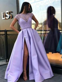 Jewel Illusion Lilac Short Sleeves Side Slit Evening Prom Dresses, Cheap Sweet 16 Dresses, 18311 - New Sites Long Prom Dresses Uk, Lavender Prom Dresses, Winter Formal Dresses, Prom Dresses With Pockets, Cheap Prom Dresses, Prom Party Dresses, Party Gowns, Dance Dresses, Purple Prom Dresses