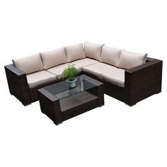 The-Hom Kessler 4 Piece Seating Group in Brown with Cushions