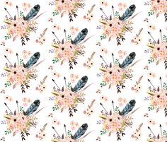 Boho Pink in White fabric by shopcabin on Spoonflower - custom fabric