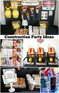 Construction Birthday Party Ideas - a fun party setup made to look like a worker coffee break room. Creative ideas for DIY decorations, favors, activities and more.